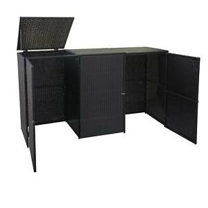 3er-Mülltonnenverkleidung MCW-E25, Mülltonnenbox, Poly-Rattan 3x120l schwarz