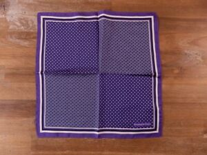 ERMENEGILDO ZEGNA purple silk pocket square authentic