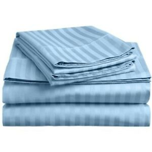 1000 TC Egy. Cotton Light Blue Striped Bed Skirt Select Drop Length All US Sizes