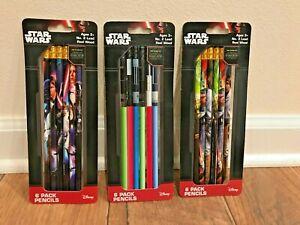 Star Wars Pencils, 3 New packs, Disney, Lucasfilm, Yoda, Han Solo, Leia