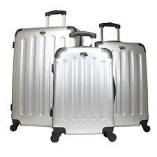 Swiss Case 4 Wheel Spinner ABS 3 Piece Luggage Set SILVER Hardside Suitcase New