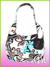 Large Hawaiian print hobo bag w/top zipper - 133Blue/Chocolate