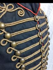 "Men Military Blk/red Atq Gold  Hussar Waistcoat & Atq Button Fit 38""40""42""44"""
