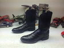 M.L. LEDDY SAN ANGELO TEXAS BLACK OSTRICH WESTERN ENGINEER COWBOY BOOTS 10AA