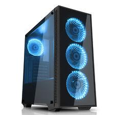 GIOCO MAX DRACO Nero Gaming PC Custodia RGB 4x12cm Fan Vetro temperato pannelli USB 3