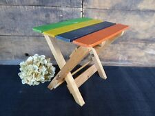 Vintage 1970's Era Child Doll Size Solid Wood Folding Rainbow Patio Side Table