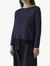 BNWT Toast Jumper Swingy wool/linen stripe sweater Sz S Small Navy/Chambre £130