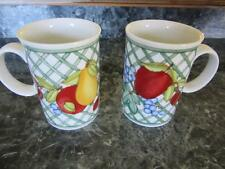 "DANSK NORDIC FRUIT TWO TALL 4 1/4"" COFFEE CUPS MUGS APPLE PEAR BERRIES"