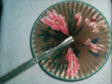 Vintage Midget Fan birds & flowers from Hong Kong Gold Tinted Handle #104
