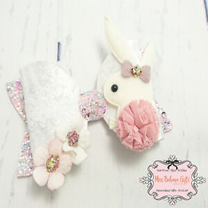 Girls Hair Accessories Crushed Velvet and Glitter Bunny Rabbit Bow Clip