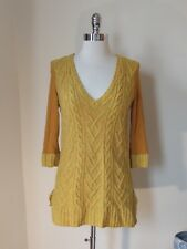 Anthropologie Pilcro Mustard Yellow Cable Knit Wool  V-neck Tunic Sweater M