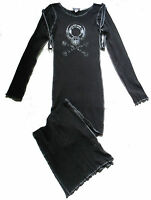 BLACK SKULL BALL CLOSURE STRAP JERSEY LONG DRESS S 10 12 CYBER GOTH STEAMPUNK