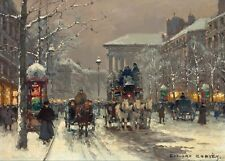 "Art QUALITY CANVAS PRINT, oil painting c11 winter scene in Paris 1930's, 24""x36"""