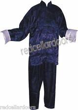 Silk Chinese Pajamas Men Woman Navy Blue Lounge Pants Top Size XXL 2X Large New