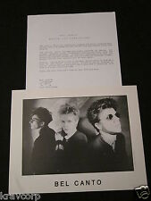 BEL CANTO 'WHITE-OUT CONDITIONS' 1987 PRESS KIT