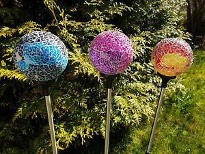 LED Solar Kugel Mosaik-Stecker 84,5cm Gartenstecker Glas Edelstahl Garten Deko