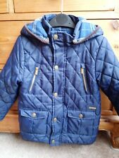 Mayoral 5yr Boy Navy Blue Quilted Winter Coat detachable hood - VGC