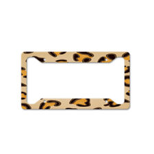 Leopard Print Auto Car License Plate Frame Tag Holder 4 Hole