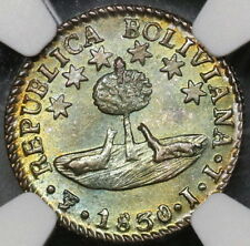 1830 NGC MS 64 BOLIVIA Silver 1/2 Sol Toned Bolivar Coin (17101101D)