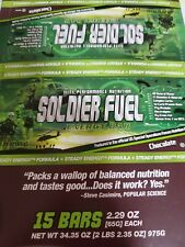 15bars Soldier Fuel Mre Emergency Survival Food Energy Bar-Chocolate New- 11-22
