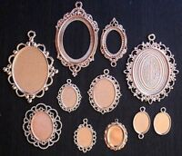 1x ROSE GOLD Oval Pendant Setting Charm Blank Base Jewelry Making Antique Floral