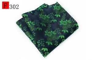 Red Green Yellow Blue Brown White Flower Patterned 100% Silk Pocket Square