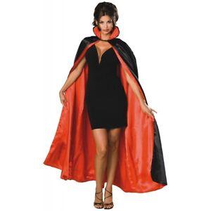 Reversible Satin Cape Vampire Devil Magician Opera Phantom Cloak Costume Acsry