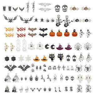 10 Pairs Mix Halloween Pendant Skull Ghost Spider Bat Enamel Charm Alloy Jewelry