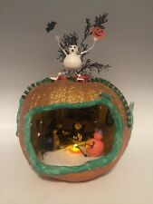 Vintage Halloween Lighted Foam Glitter Pumpkin Diorama Homemade Decoration