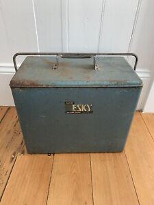 Vintage Blue Metal 'MALLEYS' Esky, inc metal tray inside