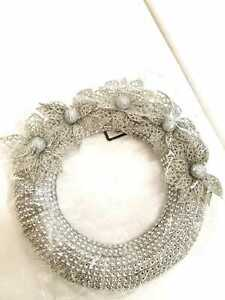 SNOW WHITE LUXURY 20CM SILVER CRYSTAL COVERED HANGING WREATH WITH 4 FLOWERS
