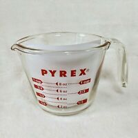 PYREX 1 cup 8 oz Measuring Cup Open Handle red letters metric 250mL vintage