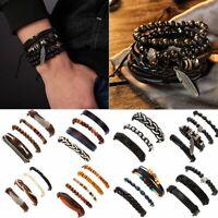 Men's Punk Braided Beads Leather Bracelets Handmade Wristband Bracelet Set Hot