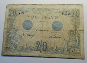 Rare Billet 20 Francs 1913 Bleu Type 1905
