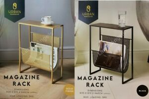 Metal Detail Side Table With Magazine Rack Cane Effect Accent Table
