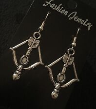 Crossbow Earrings Daryl Dixon The Hunger Games Silver Spear Bow and Arrow *UK**