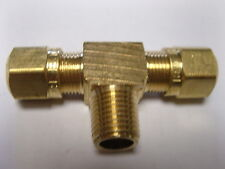 "Brass Fitting: DOT Compression Branch Tee Tube OD 3/8"" Male Pipe 1/4"" Qty 5"