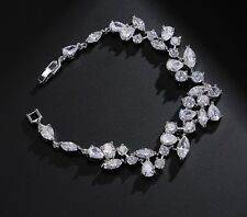 Tennis Bracelet Diamond  Round 14k White Gold Finish Sparkly Clear Stones