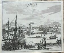 1671 ANTIQUE ORIGINAL COPPERPLATED VIEW OF HAVANA CUBA UNKNOWN ENGRAVING