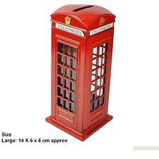 LARGE METALLIC RED TELEPHONE BOX MONEY BANK PIGGY COIN BANK LONDON SOUVENIR GIFT