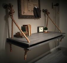 """48"""" Rope & Gray Wood INDUSTRIAL Iron Hardware Wall Mounted DESK Floating Shelf"""