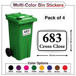 4x Wheelie Bin Numbers Custom House & Street Name Sticker Peel Stick A5/A6 PBN05