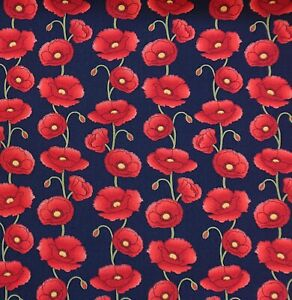Poppy Navy Blue 100% Cotton Poplin floral Dress bunting quilting Craft Fabric