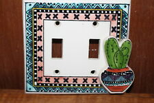 Ceramic Light Switch Plate Cover made in Milton Ontario Mexican Theme Cactus