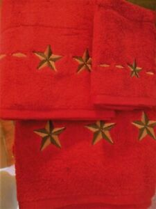 WESTERN  TEXAS STAR BATH TOWEL SET-RED-HOME OFFICE TRAILER SET OF 3 ITEMS