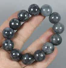 Natural A Jade Jadeite Bracelet C4409 18 mm Bead Cert'd Smoke grey 100%