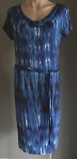 AS NEW CLAUDIA STRATER Blue & White Tie Dye Cowl Neck Stretch Dress Size 38/10
