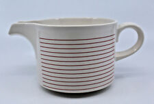 Hornsea Pottery Linear Large Creamer Jug Red Ring Stripes White England Vintage