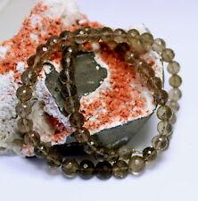 Cuarzo Ahumado Cadena de Piedra Preciosa Bola Marrón Facetada Collar Mujer