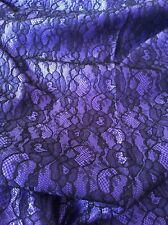 Non-Stretch Floral Lace Lingerie Making Fabric - Purple & Black